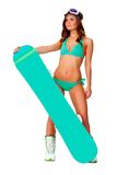 Vrouw die bikini dragen en snowboard Royalty-vrije Stock Afbeeldingen