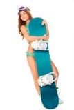 Vrouw die bikini dragen en snowboard Stock Foto