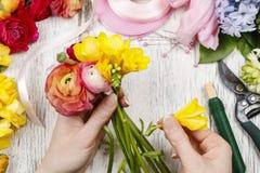Vrouw die boeket van Perzische boterbloemenbloemen maken Stock Fotografie