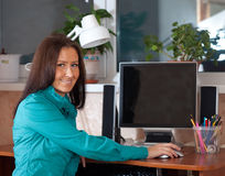 Vrouw die computer met behulp van Royalty-vrije Stock Afbeelding