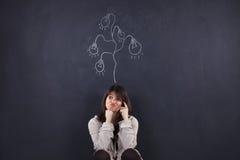 Vrouw die creativiteit verloor Royalty-vrije Stock Foto's