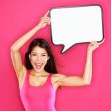 Vrouw die de bel van de tekentoespraak gelukkige toont Stock Foto's