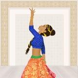 Vrouw die de Indische dans van Bollywood dansen stock illustratie