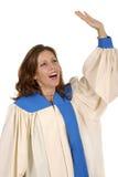 Vrouw die in de Robe van het Koor God 2 prijst royalty-vrije stock foto