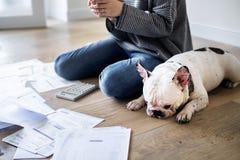 Vrouw die de schuld beheren en telefoon met behulp van dichtbij huisdierenhond royalty-vrije stock foto