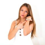 Vrouw die de tijd controleert Royalty-vrije Stock Foto