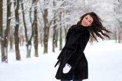 Vrouw die in de winter snow-covered park lopen Stock Fotografie