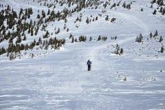 Vrouw die de wintertrekking in de bergen doen Royalty-vrije Stock Afbeeldingen