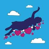 Vrouw die die op Th-wolk van harten vliegen, in liefde worden geïnspireerd Stock Afbeeldingen