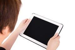 Vrouw die digitale PC van de tabletcomputer met behulp van Stock Fotografie