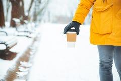 Vrouw die door gesneeuwd stadspark lopen met koffiekop opwarmings koude dag stock fotografie