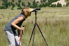 Vrouw die door het bevlekken van werkingsgebied kijken stock afbeelding