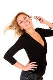 Vrouw die door mobiele telefoon roept Stock Fotografie