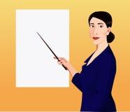 Vrouw die door wijzer aan de affiche tonen Royalty-vrije Stock Afbeelding