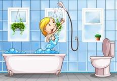 Vrouw die douche in de badkamers nemen royalty-vrije illustratie