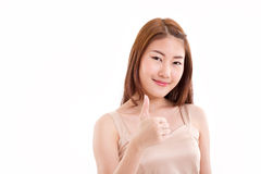 Vrouw die duim opgeeft Stock Fotografie