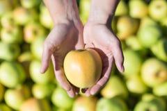 Vrouw die een appel houdt Stock Foto