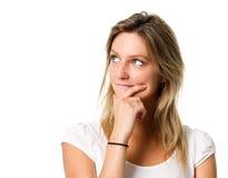 Vrouw die een besluit neemt Stock Foto's