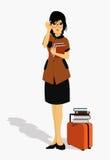 Vrouw die een boek houden Stock Afbeeldingen