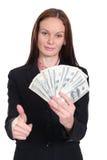 vrouw die een 100 dollarrekening houden Royalty-vrije Stock Afbeeldingen