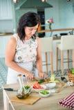 Vrouw die een gazpacho voorbereiden Stock Fotografie