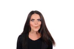 Vrouw die een grappig gezicht maken Stock Foto's