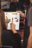 Vrouw die een haarkleur met stilist selecteren royalty-vrije stock afbeeldingen