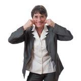 Vrouw die een het opheffen grimas doet Stock Foto