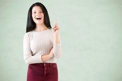Vrouw die een idee heeft Stock Foto's