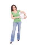 Vrouw die een klok houdt Stock Foto