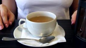 Vrouw die een kop thee houdt stock video