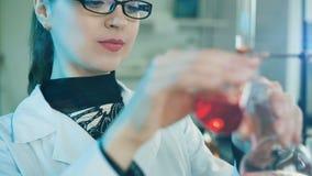 Vrouw die in een laboratorium werken stock video