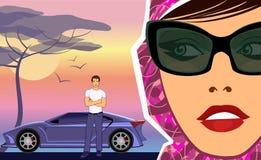 Vrouw die een man met een sportwagen bekijkt vector illustratie