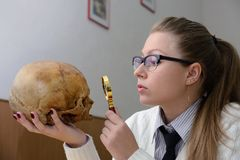 Vrouw die een menselijke schedel onderzoekt Stock Afbeeldingen