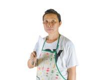 Vrouw die een mes houden. Stock Foto's