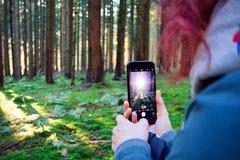 Vrouw die een mobiele telefoonfoto nemen royalty-vrije stock afbeelding