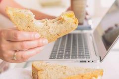 Vrouw die een ontbijtsandwich eten terwijl het werken met laptop stock foto