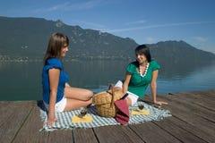 Vrouw die een picknick maakt Stock Foto