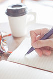 Vrouw die een plan op notitieboekje schrijven Royalty-vrije Stock Foto
