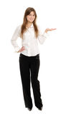 Vrouw die een product voorstelt Stock Fotografie