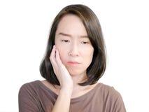 Vrouw die een tandpijn hebben Stock Afbeelding