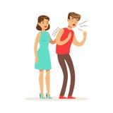 Vrouw die een verstikkende man, eerste hulp vectorillustratie helpen vector illustratie