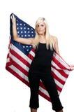 Vrouw die in een Vlag wordt verpakt Stock Fotografie