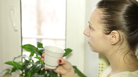 Vrouw die frappe drinkt stock footage