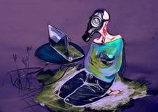 Vrouw die in gasmasker, op bij laptop letten, die op papier trekken Stock Foto's