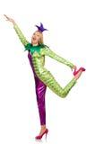 Vrouw die geïsoleerd clownkostuum dragen Royalty-vrije Stock Foto