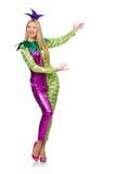 Vrouw die geïsoleerd clownkostuum dragen Royalty-vrije Stock Afbeelding