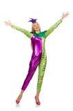 Vrouw die geïsoleerd clownkostuum dragen Royalty-vrije Stock Fotografie