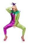 Vrouw die geïsoleerd clownkostuum dragen Stock Afbeelding