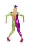 Vrouw die geïsoleerd clownkostuum dragen Stock Foto's